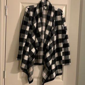 Bar III Buffalo Check Cardigan Coat